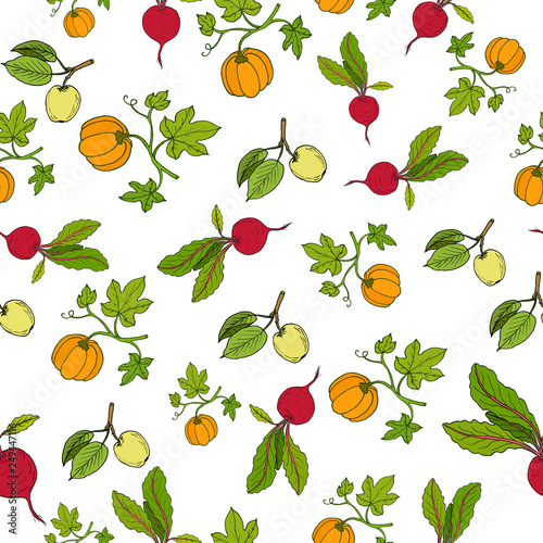 Fresh vegetables and fruits seamless pattern - 249447116