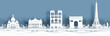 Panorama view of Paris, France skyline with world famous landmarks in paper cut style vector illustration