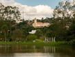 Quadro TUIUTI, BRAZIL - OCT 28, 2018 - Tuiuti city church view from park lake city