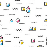 Cute seamless pattern with geometric shapes. Creative vector childish background for fabric, textile, nursery wallpaper.