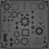 Vintage set of horizontal, square and round elements. Different elements for design, frames, cards, menus, backgrounds and monograms. Classic dark patterns. Set of vintage patterns - 249460524