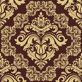 Classic seamless brown and golden pattern. Damask orient ornament. Classic vintage background - 249460573