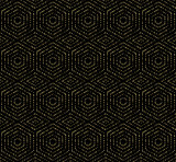 Geometric repeating ornament with hexagonal dotted elements. Geometric modern ornament. Seamless abstract modern black and golden dotted pattern - 249460761