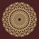 Oriental pattern with arabesques and floral elements. Traditional classic brown and golden round ornament. Vintage pattern with arabesques - 249461156