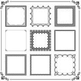 Vintage set of elements. Different square elements for decoration and design frames, cards, menus, backgrounds and monograms. Classic black patterns. Set of vintage patterns - 249461506