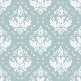 Classic seamless pattern. Damask orient light blue and white ornament. Classic vintage background - 249461786