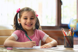 Happy Little Child Girl Drawing Picture in School - 249466519