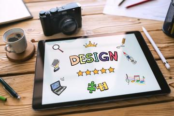 Design Concept on Digital Tablet with Various Hand Drawn Doodle Icons © ilkercelik