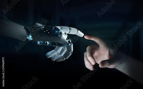 Leinwanddruck Bild Robot hand making contact with human hand on dark background 3D rendering