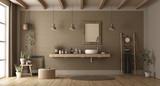 Minimalist bathroom with washbasin - 249484799