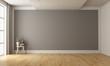 Leinwanddruck Bild - Empty minimalist room with gray wall on background