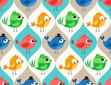 seamless colorful cute birds pattern wallpaper background