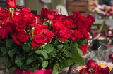 closeup of red roses bouqet at the florist for the valentines day