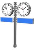 zwei Uhren mit Wegweiser, freigestellt