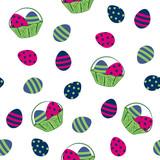 nahtloses Osterdesign mit Ostereiern und Obstkorb. Vektor Eps 10 - 249496382