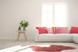 White stylish minimalist room with bright coral sofa. Scandinavian interior design. 3D illustration