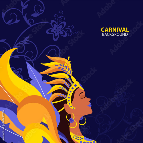 Illustration of beautiful woman in carnival costume on floral motif decorated blue background for Carnival celebration concept.