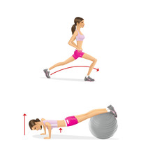 Girl is training. Strengthening the muscles of the arms and chest push-ups on fitball. Lunges feet first © iuliiawhite
