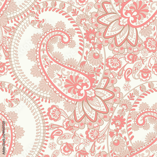 Paisley - seamless ethnic pattern. Indian floral vintage background - 249507328