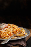 Pasta with chunks of fresh tuna, tomato and capers - 249522914