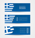 Set of three horizontal banners with flag of Greece. Web banner design template in color of Greece flag.