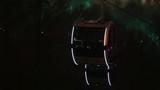 Cabin with illumination rides on ropeway at autumn night - 249542116