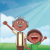 grandfather and grandson outdoors - 249545173