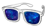 Sunglasses with space in it