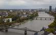 Panorama of the Main River and Frankfurt from a skyscraper roof