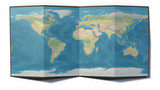 World map drawn on a folded sheet, planisphere leaning on a surface, 3d rendering. Physical map