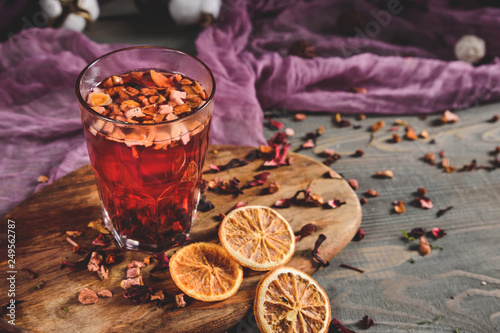 Red fruit tea on dark background © anitty