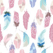 Pastel hand drawn seamless pattern with feather,cake,wild,moon,star and fox