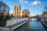 Notre Dame de Paris Cathedral, beautiful Cathedral in Paris. View from the River Seine. France