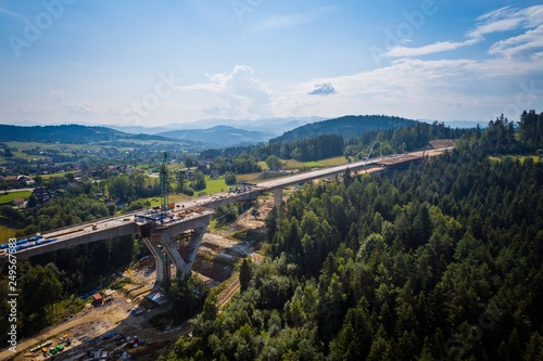 Drone view on road bridge in construction