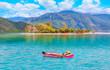 Quadro Girls in bikini lying on air bed in the turqouise sea - Oludeniz Beach And Blue Lagoon, Best beaches in Fethiye, Turkey