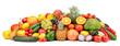 Fresh tasty vegetables, fruits and berries isolated on white background. - 249589982
