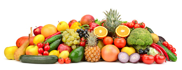 Fresh tasty vegetables, fruits and berries isolated on white background. © Serghei Velusceac