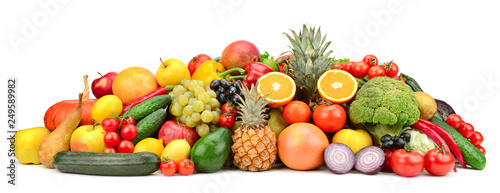 Leinwanddruck Bild Fresh tasty vegetables, fruits and berries isolated on white background.