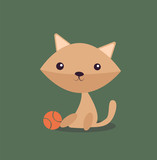 Cartoon picture with home pets, domestic animals, cat, kitty, feline watching, ball . Vector illustration.