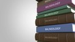 Pile of books on BALNEOLOGY, loopable 3D animation