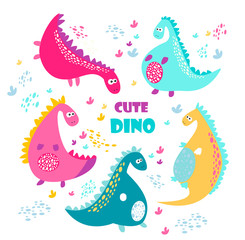 Cute vector color dinosaurs. Set © mohinimurti