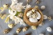 Easter holiday.Easter decorative nest close-up and white hyacinth flower on gray background.Spring Easter background.Spring season