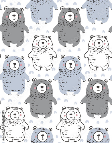 fototapeta na ścianę Vector seamless pattern with hand drawn wild forest animals,