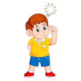 boy thinking and get bright idea - 249646777