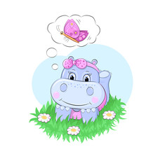Cute girl hippo is laying on the grass and dreaming about butterfly. Hand drawn vector illustration.