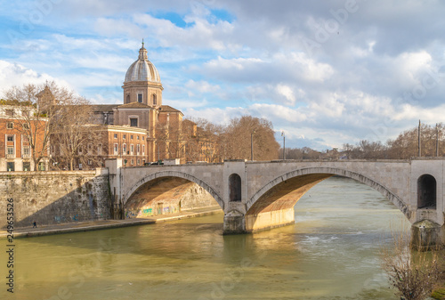 Rome (Italy) - The historic center of Rome with Villa Borghese monumental park, the monumental Lungotevere with Tiber river and Isola Tiberina island