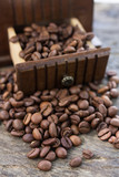 coffee grinder and roasted coffee beans - 249661588