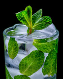 fresh water with mint and ice black background - 249662344