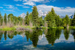 Quadro Mountains in Grand Teton National Park with reflection in Snake River
