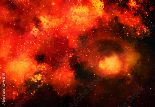 Star field in galaxy space with nebula, abstract watercolor digital art painting for texture background © jakkaje8082